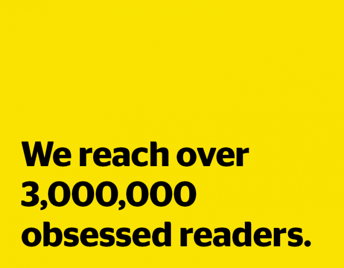Yaffa Media: We reach over 3,000,000 obsessed readers.
